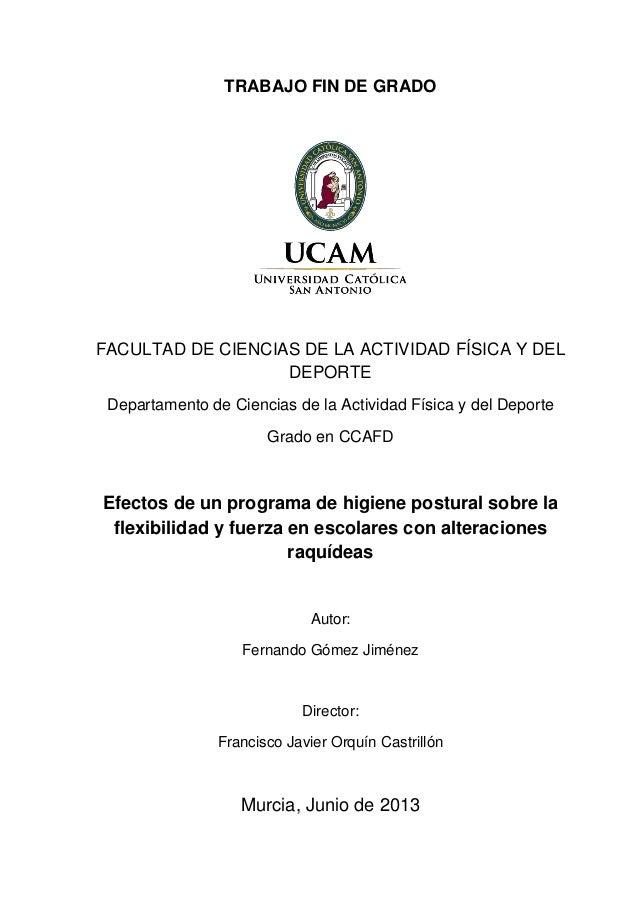 TRABAJO FIN DE GRADO FACULTAD DE CIENCIAS DE LA ACTIVIDAD FÍSICA Y DEL DEPORTE Departamento de Ciencias de la Actividad Fí...