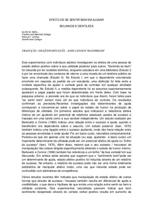 EFEITO DE SE SENTIR BEM EM AJUDAR                                 BOLINHOS E GENTILEZAALICE M. ISEN aFranklin and Marshall...