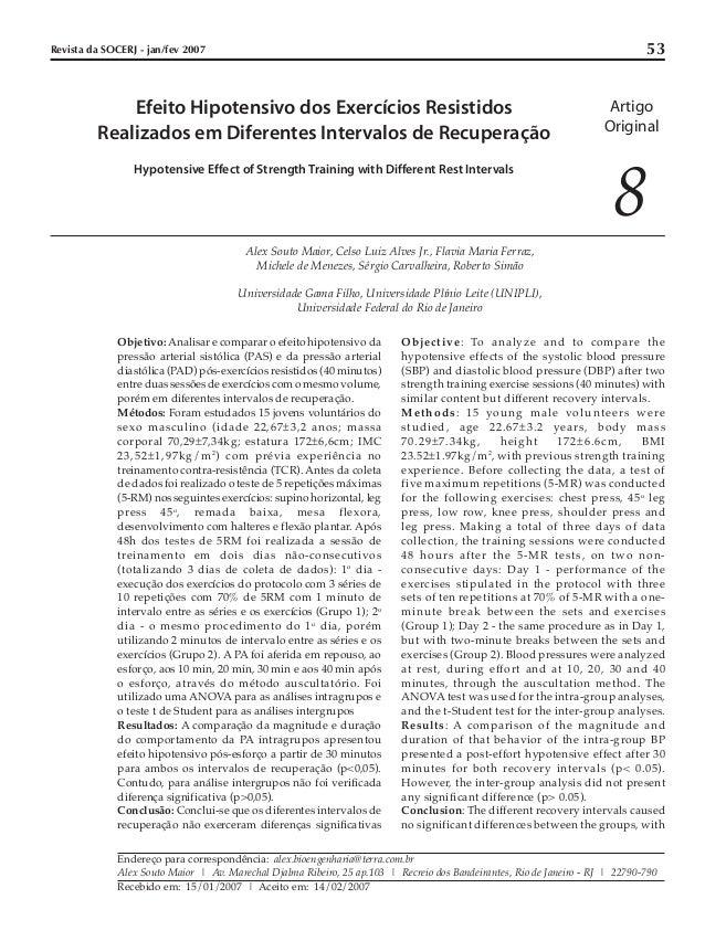 53  Revista da SOCERJ - jan/fev 2007  Efeito Hipotensivo dos Exercícios Resistidos Realizados em Diferentes Intervalos de ...