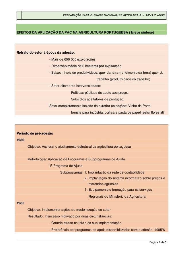 PREPARAÇÃO PARA O EXAME NACIONAL DE GEOGRAFIA A – 10º/11º ANOS Página 1 de 5 EFEITOS DA APLICAÇÃO DA PAC NA AGRICULTURA PO...