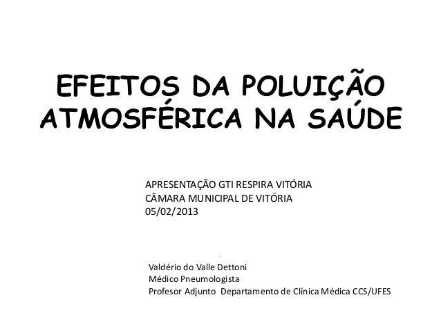 EFEITOS DA POLUIÇÃOATMOSFÉRICA NA SAÚDE     APRESENTAÇÃO GTI RESPIRA VITÓRIA     CÂMARA MUNICIPAL DE VITÓRIA     05/02/201...