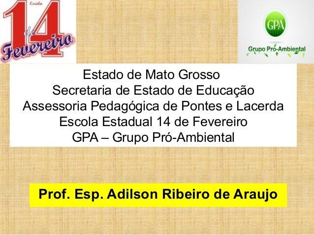 Estado de Mato GrossoSecretaria de Estado de EducaçãoAssessoria Pedagógica de Pontes e LacerdaEscola Estadual 14 de Fevere...
