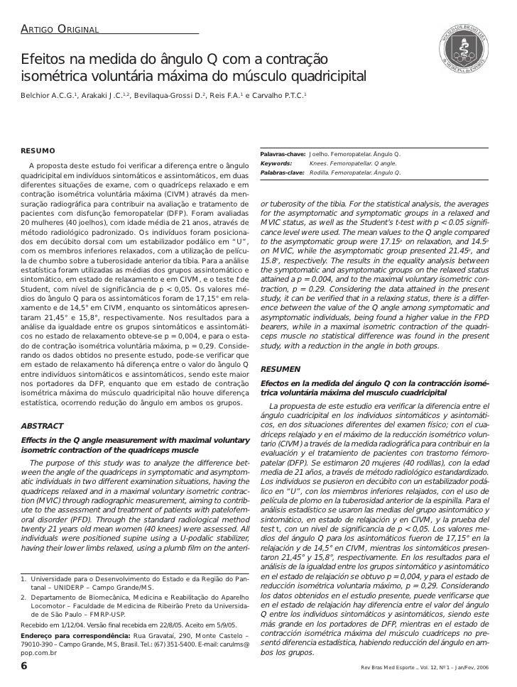 ARTIGO ORIGINALEfeitos na medida do ângulo Q com a contraçãoisométrica voluntária máxima do músculo quadricipitalBelchior ...