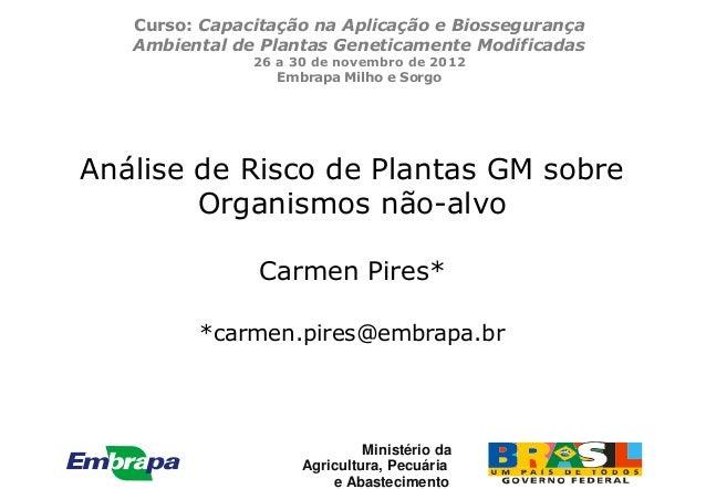 Curso: Capacitação na Aplicação e Biossegurança   Ambiental de Plantas Geneticamente Modificadas               26 a 30 de ...