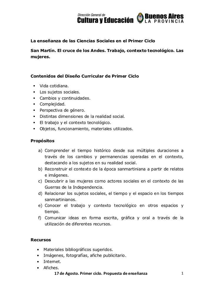 La enseñanza de las Ciencias Sociales en el Primer CicloSan Martín. El cruce de los Andes. Trabajo, contexto tecnológico. ...