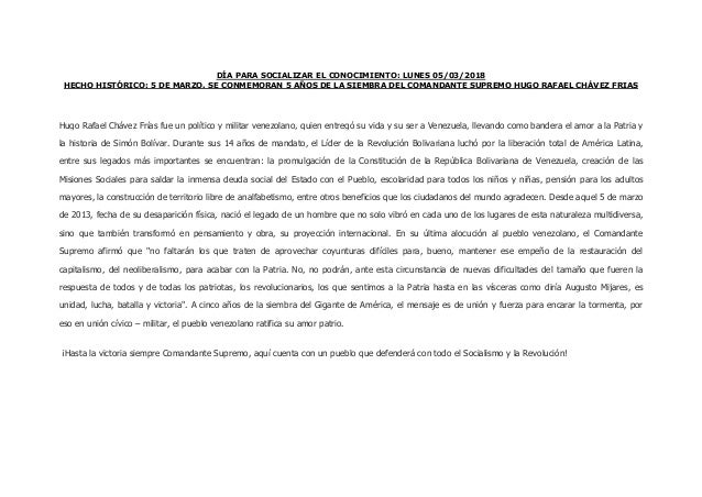 DÍA PARA SOCIALIZAR EL CONOCIMIENTO: LUNES 05/03/2018 HECHO HISTÓRICO: 5 DE MARZO. SE CONMEMORAN 5 AÑOS DE LA SIEMBRA DEL ...