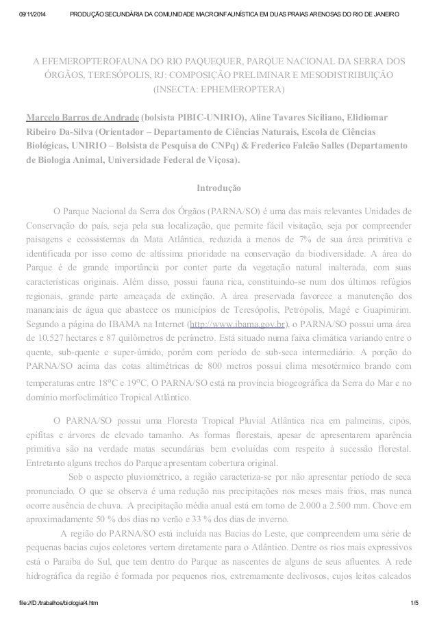 09/11/2014 PRODUÇÃO SECUNDÁRIA DA COMUNIDADE MACROINFAUNÍSTICA EM DUAS PRAIAS ARENOSAS DO RIO DE JANEIRO  A EFEMEROPTEROFA...