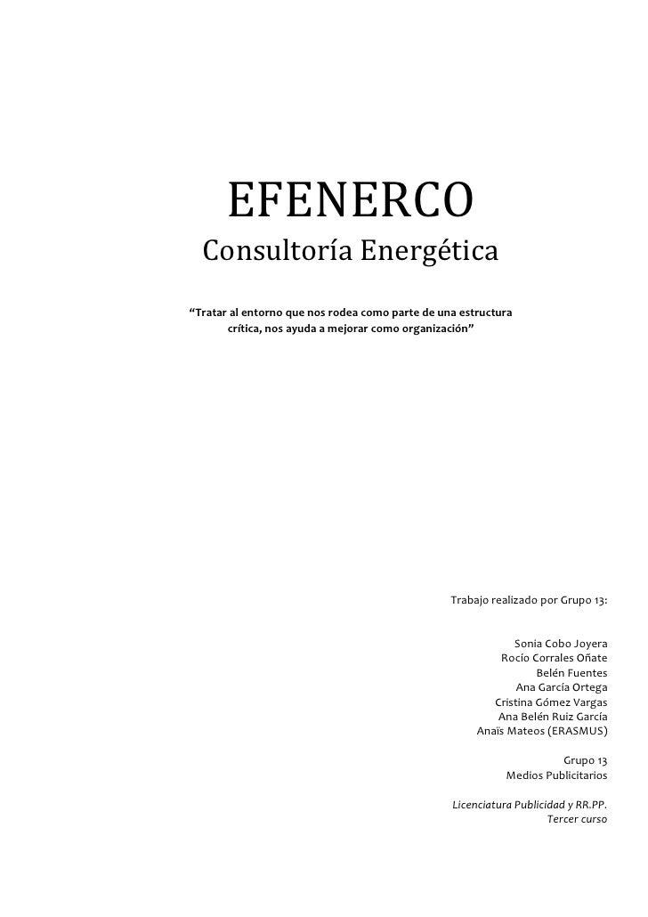 """EFENERCO  Consultoría Energética""""Tratar al entorno que nos rodea como parte de una estructura       crítica, nos ayuda a m..."""