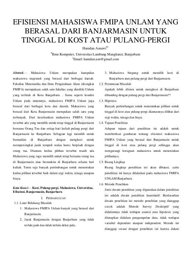 EFISIENSI MAHASISWA FMIPA UNLAM YANG BERASAL DARI BANJARMASIN UNTUK TINGGAL DI KOST ATAU PULANG-PERGI Hamdan Asnawi#1 #  A...