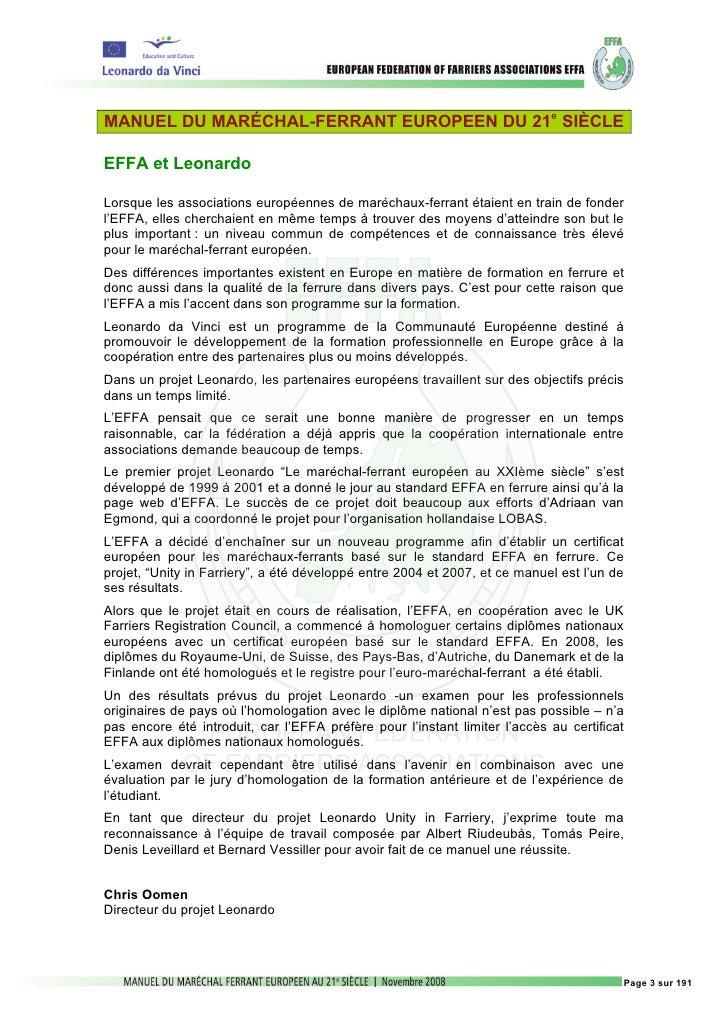 MANUEL DU MARÉCHAL-FERRANT EUROPEEN DU 21e SIÈCLEEFFA et LeonardoLorsque les associations européennes de maréchaux-ferrant...