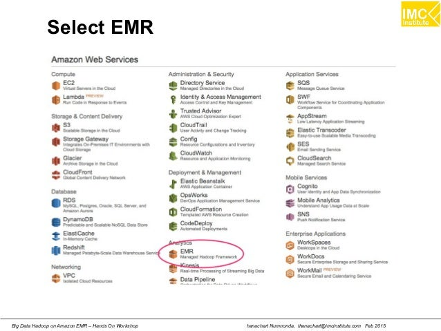 hanachart Numnonda, thanachart@imcinstitute.com Feb 2015Big Data Hadoop on Amazon EMR – Hands On Workshop Select EMR