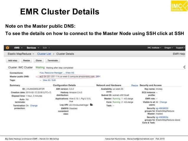 hanachart Numnonda, thanachart@imcinstitute.com Feb 2015Big Data Hadoop on Amazon EMR – Hands On Workshop EMR Cluster Deta...