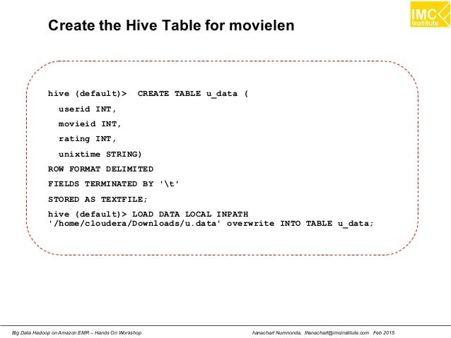 hanachart Numnonda, thanachart@imcinstitute.com Feb 2015Big Data Hadoop on Amazon EMR – Hands On Workshop Create the Hive ...