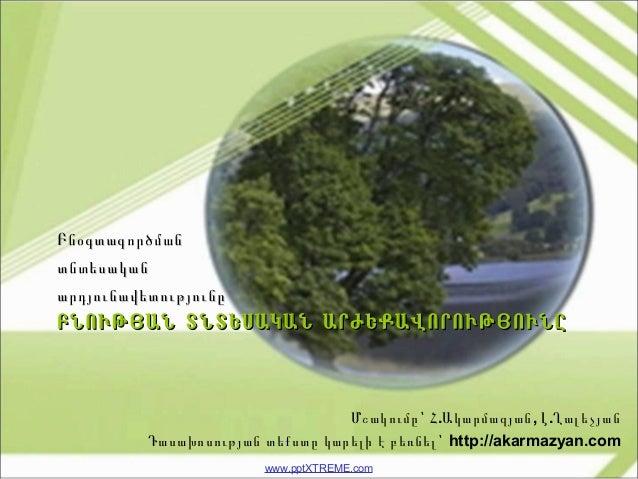 www.pptXTREME.com ԲՆՈՒԹՅԱՆ ՏՆՏԵՍԱԿԱՆ ԱՐԺԵՔԱՎՈՐՈՒԹՅՈՒՆԸԲՆՈՒԹՅԱՆ ՏՆՏԵՍԱԿԱՆ ԱՐԺԵՔԱՎՈՐՈՒԹՅՈՒՆԸ ԲնօգտագործմանԲնօգտագործման տնտե...
