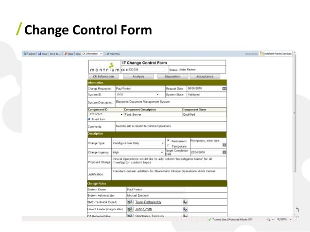 Change Control Form Change Control Form ...  Change Management Form Template