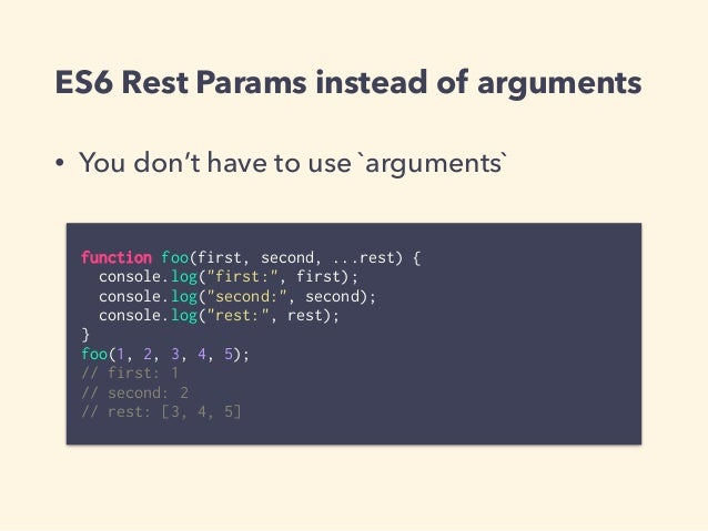 """Destructuring assignment • Function params like """"named-params"""" • Options object param function draw(x, y, {width = 320, he..."""