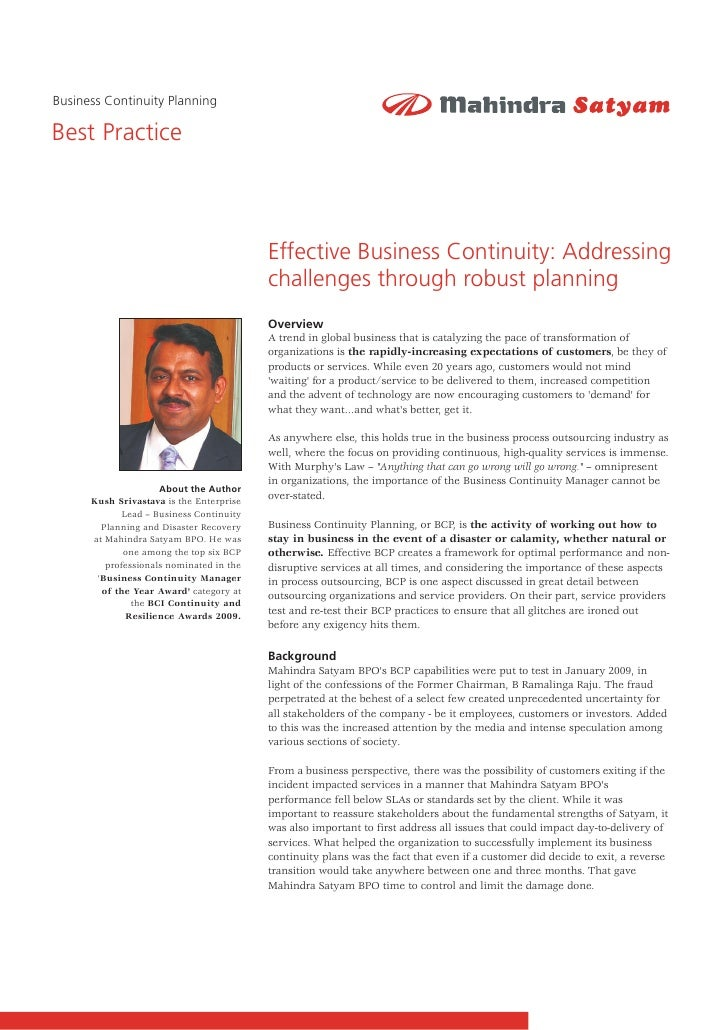 Business Continuity Planning  Best Practice                                              Effective Business Continuity: Ad...