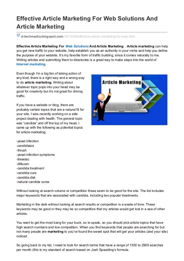 Effective Article Marketing For Web Solutions And Article Marketing d-techmedia.blogspot.com /2015/08/effective-article-ma...