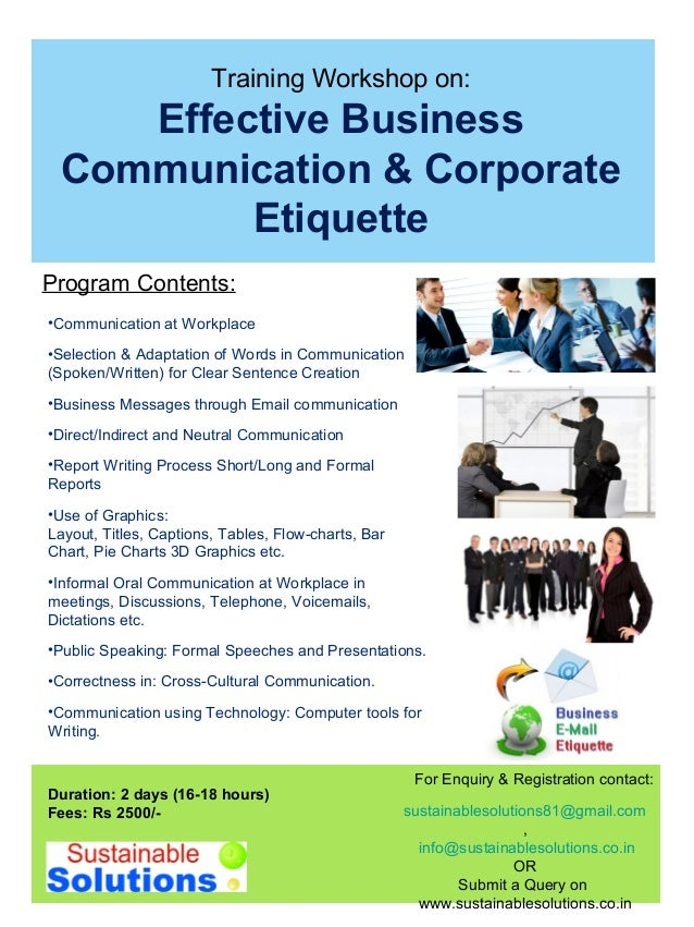 Training Workshop on: Effective Business Communication ...