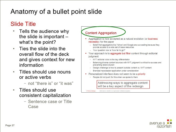 Anatomy of a bullet point