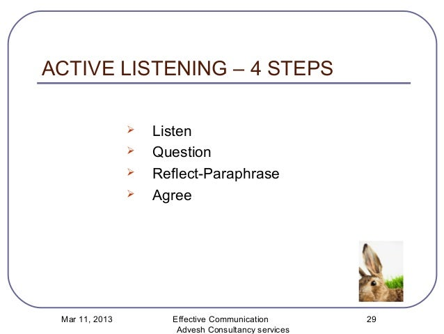 steps for active listening process How to apply active listening during critical  use the active listening process to clarify ambivalence to an  active listening involves three steps.