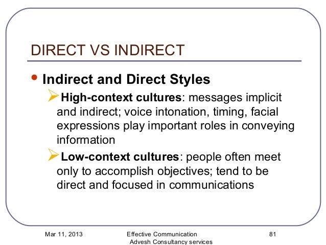 Direct vs indirect communication definition