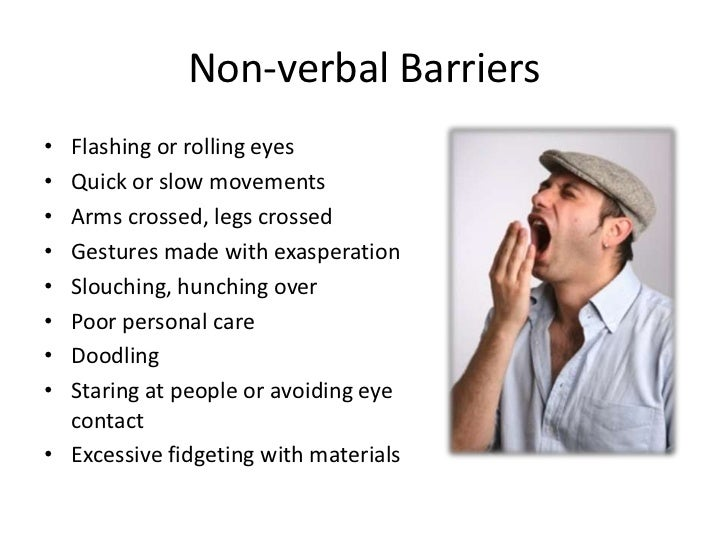 nonverbal communication as a barrier of Looking for nonverbal communication gestures in clusters prevents us from allowing a single gesture or movement to be definitive in determining a person's state of.