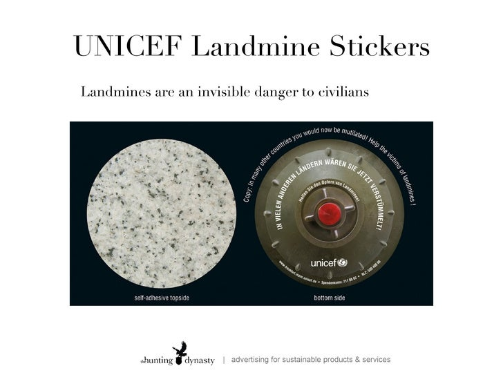 unicef landmine stickers A small, but extremely effective way of drawing attention to an important issue  these self adhesive stickers are nearly invisible when placed on.