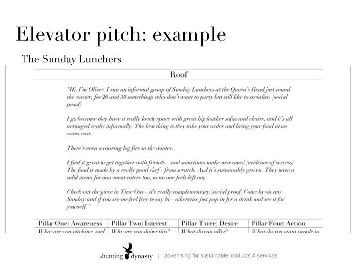 How to write a good elevator speech for 30 second pitch template