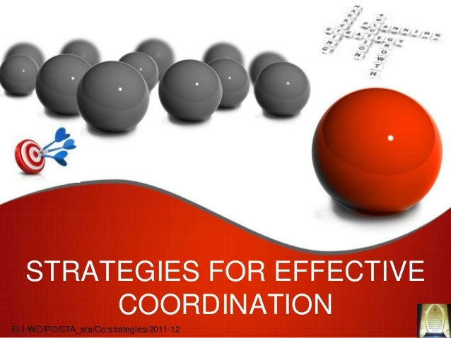 STRATEGIES FOR EFFECTIVE        COORDINATIONELI-WC/PD/STA_sta/Co:strategies/2011-12