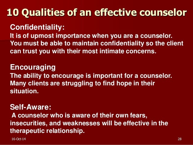 characteristics of a good counselor Counselors who are aware of the characteristics of these styles can best help students what characteristics of a good response are more difficult than.