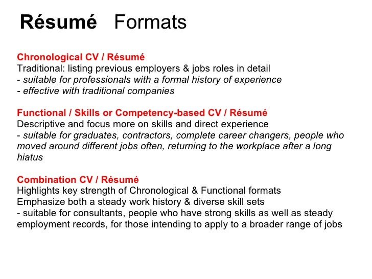 Résumé ...  Functional Resume Vs Chronological