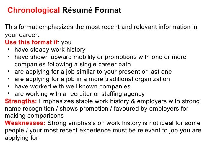 Chronological Résumé ...  Chronological Resume Definition
