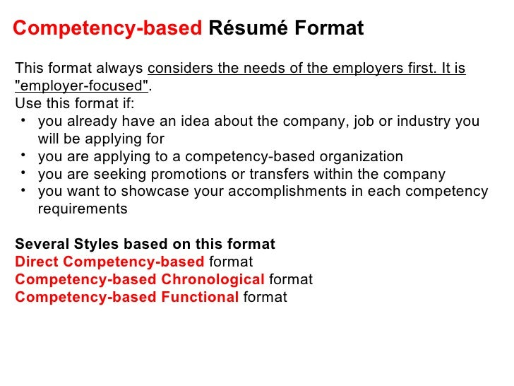 Competency Based Résumé ... On Competency Based Resume