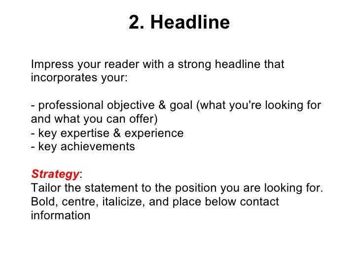Headline Resume Examples - Template