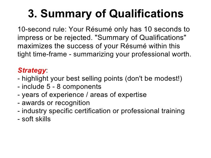 ... 23. 3. Summary Of Qualifications ...