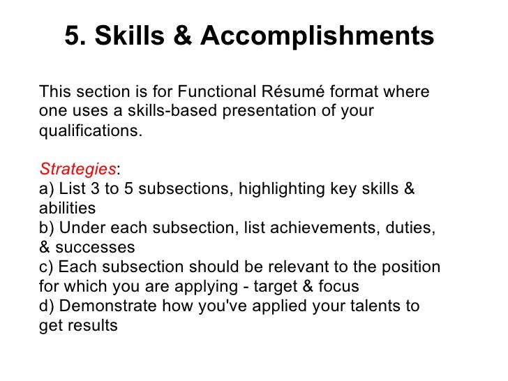 skills and achievements resume