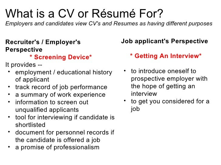 what is a cv or rsum