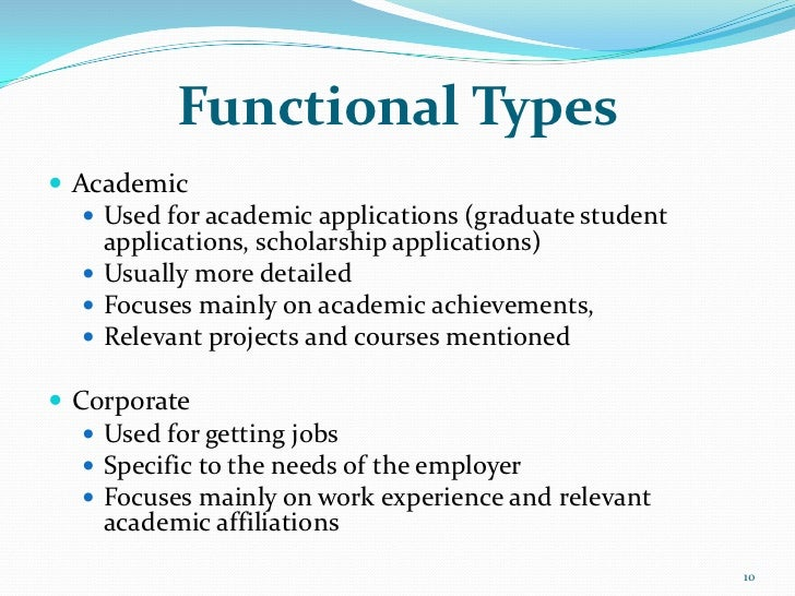 Functional Types Academic    Used for academic applications (graduate student     applications, scholarship applications...