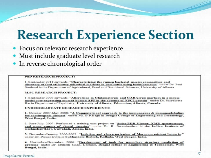 how to include experience in resume