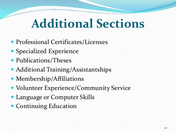 additional sections professional certificates  licenses