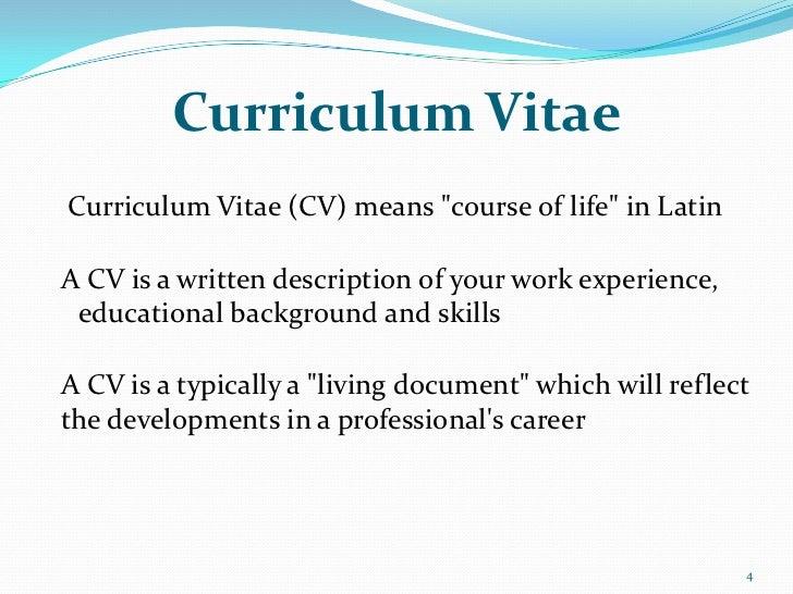 Curriculum VitaeCurriculum Vitae (CV) Means