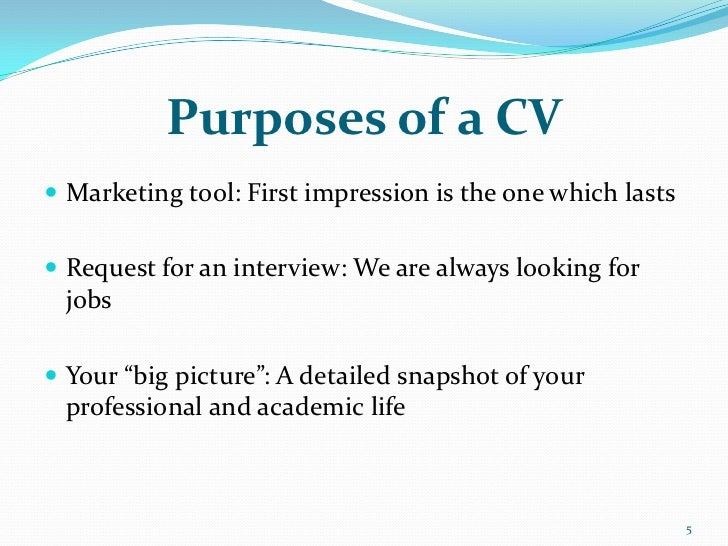 purposes of a cv marketing