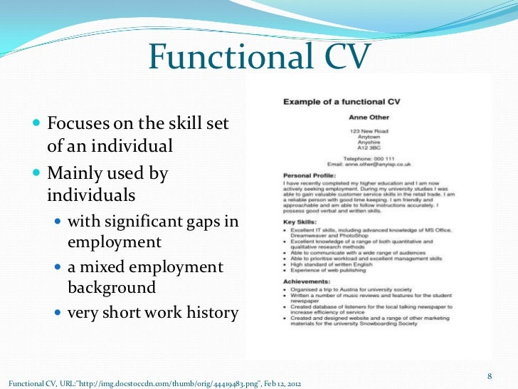 functional cv focuses on