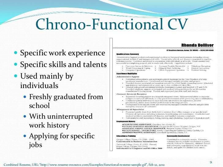 chrono functional cv specific work - Sample Of A Functional Resume