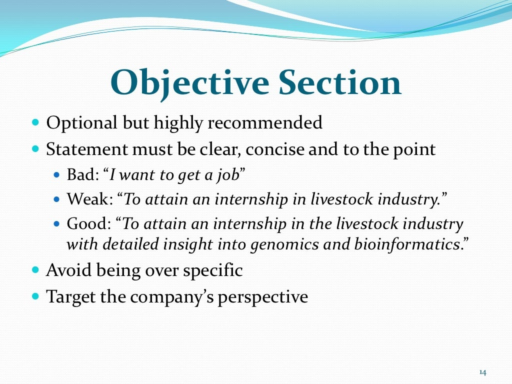 objective section optional but highly