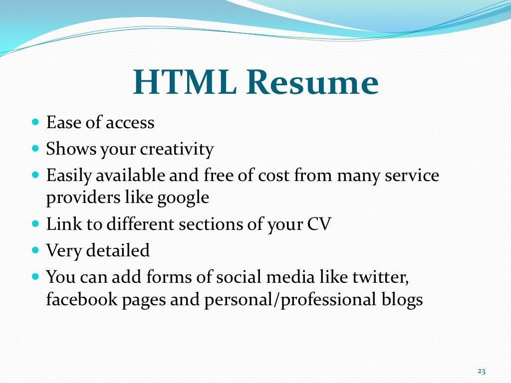 html resume ease of access