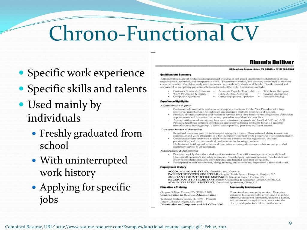 chrono functional cv specific work