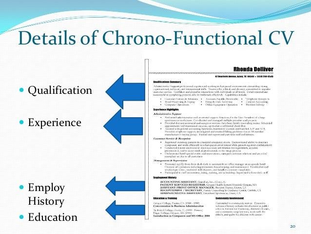 chrono functional resume samples