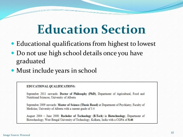 Education Section Educational Qualifications ...